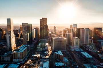 Photo sur Plexiglas Marron chocolat Aerial drone photo - City of Denver Colorado at sunset