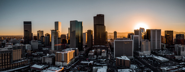 Printed roller blinds Chocolate brown Aerial drone photo - City of Denver Colorado at sunset