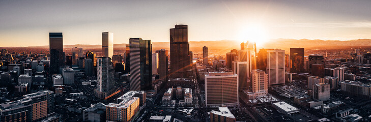 Poster Zwart Aerial drone photo - City of Denver Colorado at sunset