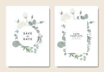 Floral wedding invitation card template design, bouquets of white rose, orchid and leaves with circle and rectangle frames on white background, vintage style