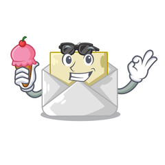 With ice cream open envelope greeting posters on character
