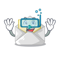 Diving open envelope greeting posters on character