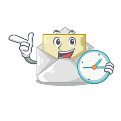 With clock open envelope greeting posters on character
