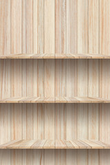 Blank wooden shelf on wood texture background. For montage product display.