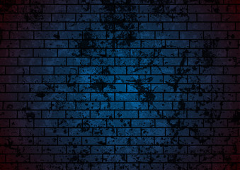 Dark blue grunge brick wall background