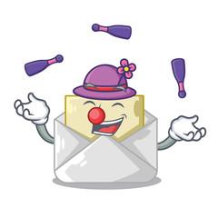 Juggling envelope opened on shape white mascot