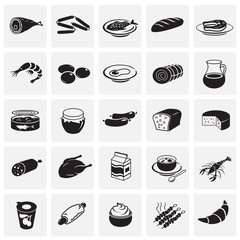 Food set on squares background icons