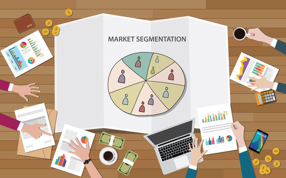 market marketing segmentation with people group on segment circle team discuss