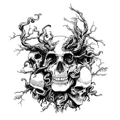 skulls of people in roots