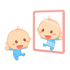 A happy newborn baby is smiling in front of a mirror. Development.