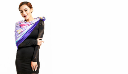 Asian girl wearing purple silk scarf photographing in white background