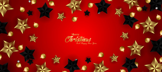 Merry Christmas and Happy New Year banners, with stars gold and black stars