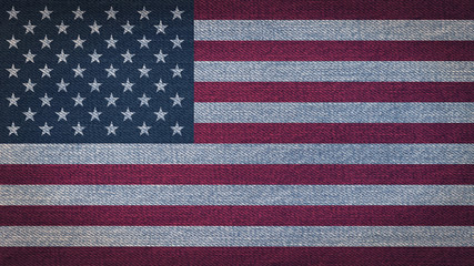 USA flag pattern on blue grunge denim textile fabric cloth background for raising awareness on national event and support campaign concept.