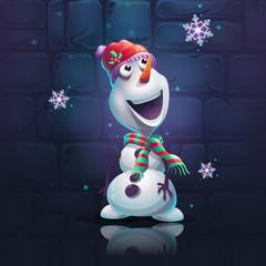 Vector illustration cartoon snowman brick wall