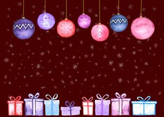 Christmas presents balls card