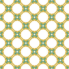 Seamless background for your designs. Modern green and golden ornament. Geometric abstract pattern