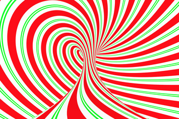 Christmas festive red and green spiral tunnel. Striped twisted xmas optical illusion. Hypnotic background. 3D render illustration.