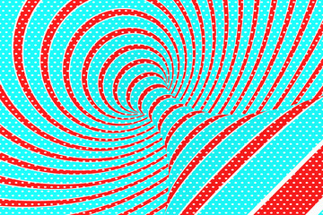 Christmas festive red and blue spiral tunnel. Striped twisted xmas optical illusion. Hypnotic background. 3D render illustration.
