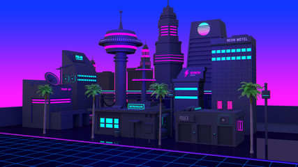 Synthwave And Retrowave City Background