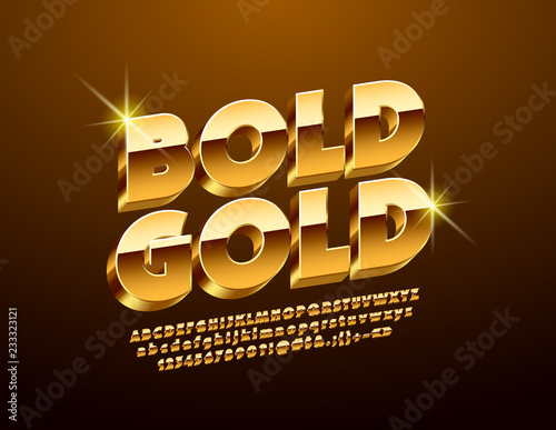 Luxury Golden 3D Font  Chic Alphabet Letters, Numbers and Symbols