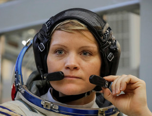Crew member of the International Space Station (ISS) astronaut Anne McClain of the U.S. attends the final qualification training for upcoming space mission in Star City near Moscow