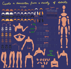 man characters set for animation. parts of body