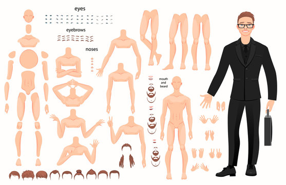 characters set for animation. parts of body