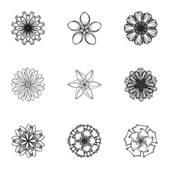 Spring flower icon set. Simple set of 9 spring flower vector icons for web design isolated on white background