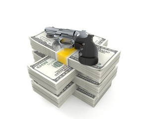 Gun on stack of money