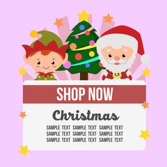 cute christmas shop theme with santa claus elf