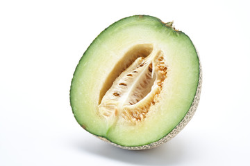 cantaloupe melon on the white