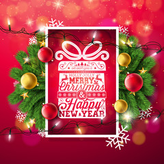 Merry Christmas Illustration with Typography and Holiday Light Garland, Pine Branch, Snowflakes and Ornamental Ball on Red Background. Vector Happy New Year Design.