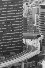 Fototapete - Highway and modern office building in Osaka city, Japan