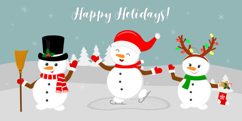 New Year and Christmas card. Three cute snowmen in different costumes. Skating, holding a broomstick, holding a sock with gifts. Winter on the background of snowflakes. Cartoon style, vector