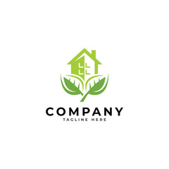 Nature green leaf and house building vector icon logo