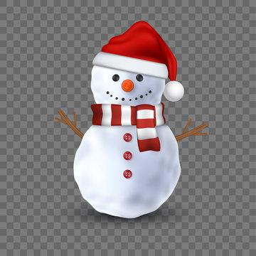 3d snowman on transparent background, vector illustration.