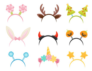 Flat vector set of festive hair hoops. Cute head accessories for holiday parties. Attributes of costumes