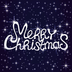 Merry Christmas text on a starry sky background.