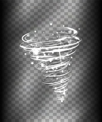 Hurricane Light effect. Vector Vortex tornado glowing, swirling storm cone of shining sparkles on transparent background. Glittering funnel, whirlwind flash, storm twist or blizzard funnel