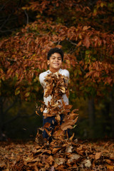 Happy Boy in Fall