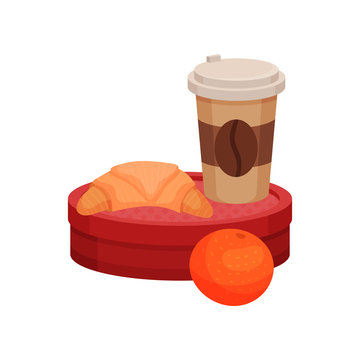 Flat vector illustration of school lunch. Fresh croissant and plastic cup of coffee on red container and juicy orange