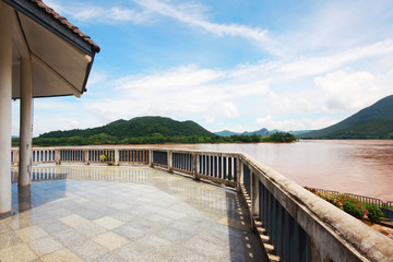 Terrace of pavilion with landscape of mountain and river view at Thai-Laos border in Chaingkhan distric Thailand