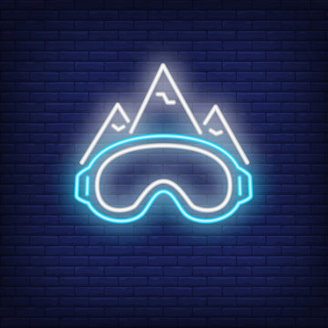 Ski slope neon sign. Mountains and sports goggles on brick background. Night bright advertisement. Vector illustration in neon style for sport, hobby, recreation