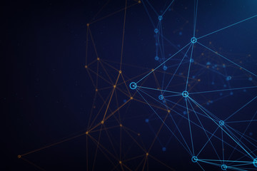 Network background made of colorful lines and dots
