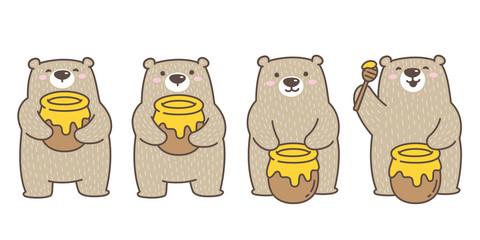 Bear vector Polar Bear icon logo honey bee cartoon character illustration doodle brown