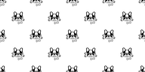 Dog seamless pattern vector french bulldog bone repeat background tile cartoon wallpaper isolated black