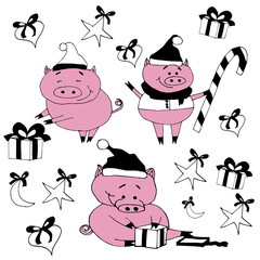Happy pigs with presents.New year set with pigs.Christmas vector illustration.New year texture.Happy new year celebrations.New year objects isolated on white background.Hand drawn set