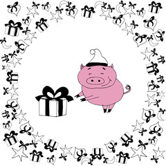 Happy new year set with pig.New year pig with pserent.Cute pink animal on white backgriund.Christmas pig.New year vector illustration,black and white.Pink.Hand drawn funny  isolated pig