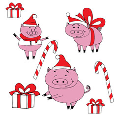 Happy new year set.New year pigs with presents.Isolated objects on white background.Christmas cute pigs with red hats.Holidays.Celebration.