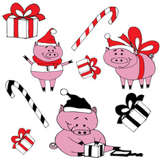 Cute pigs celebration new year.Smiling pigs open presents.Pigs in christmas hats with candys.Isolated vector objects.Happy new year pigs.Hand drawn